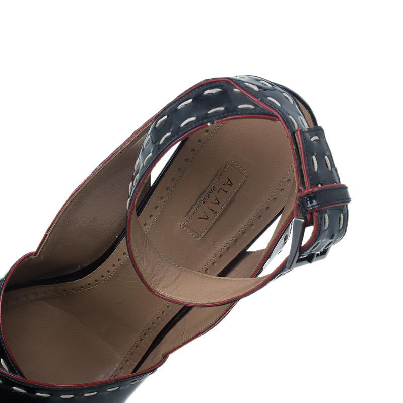 Azzedine Alaia Black Patent Criss Cross Ankle Strap Sandals Size 40