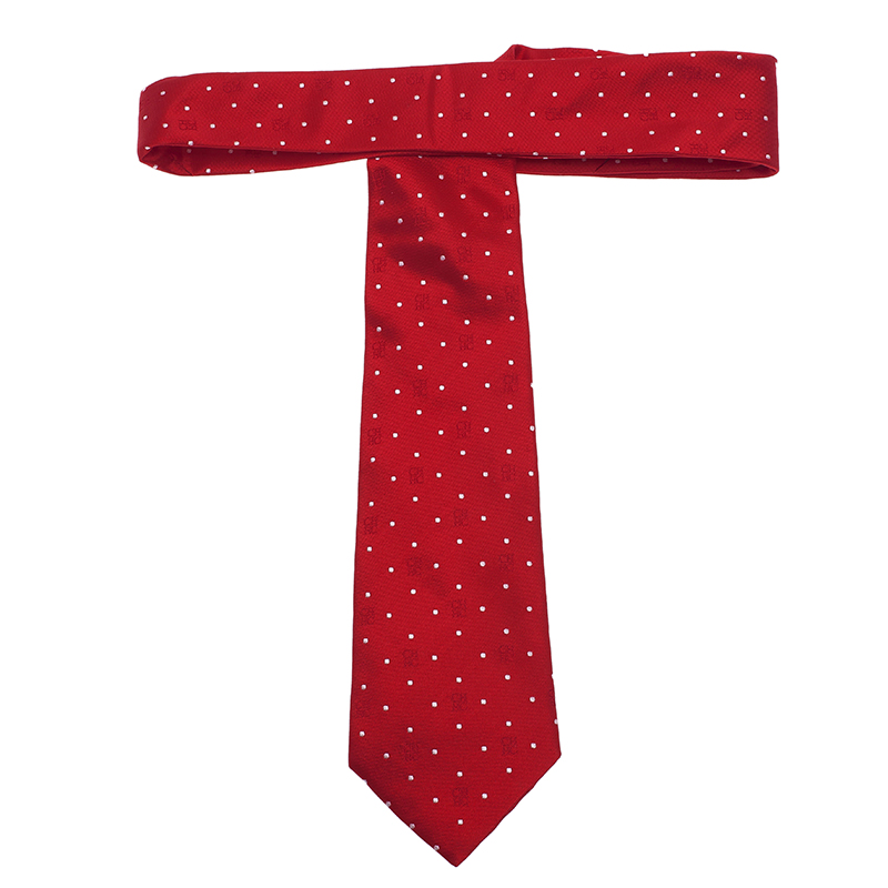 CH Carolina Herrera Red Polka Dot Silk Tie