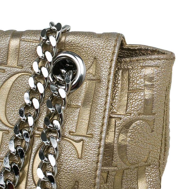 Carolina Herrera Gold Monogram Leather Audrey Shoulder Bag