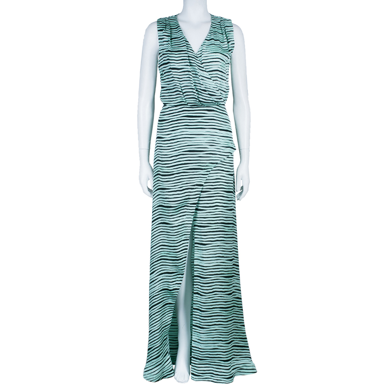 Kenzo Brush Striped Silk Maxi Dress M