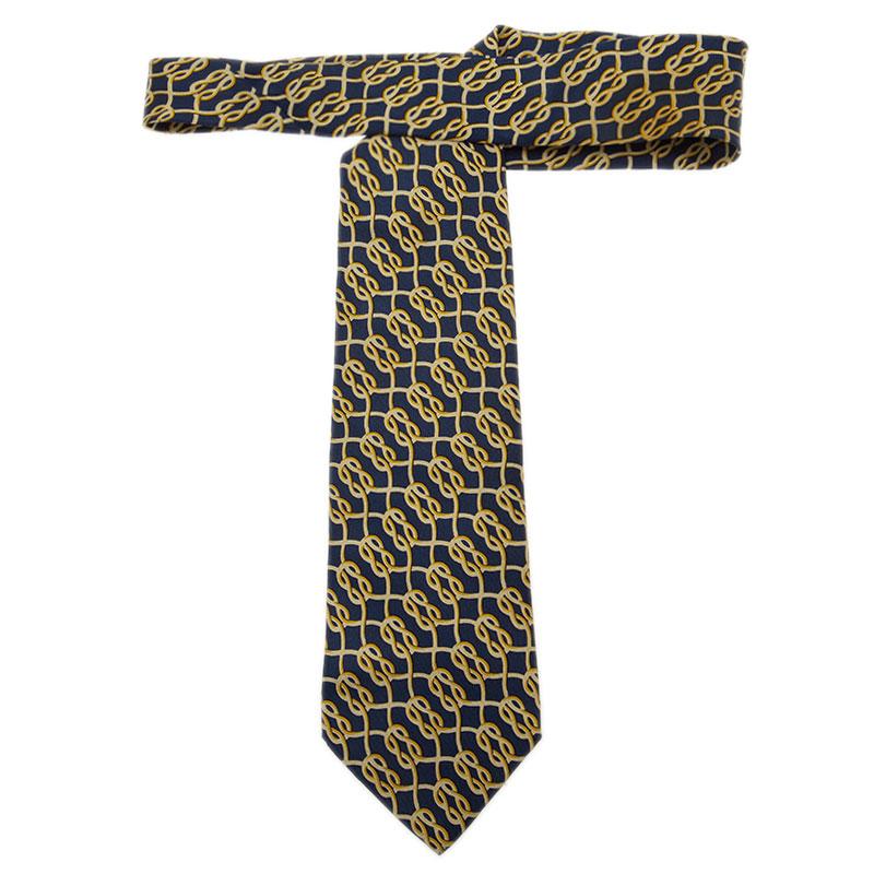 Gucci Navy Blue Silk Rope Print Tie