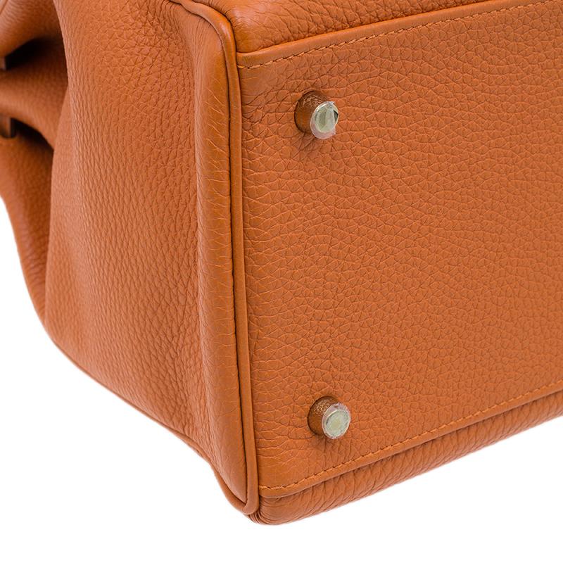 Hermes Orange Togo Leather Kelly 40 Bag