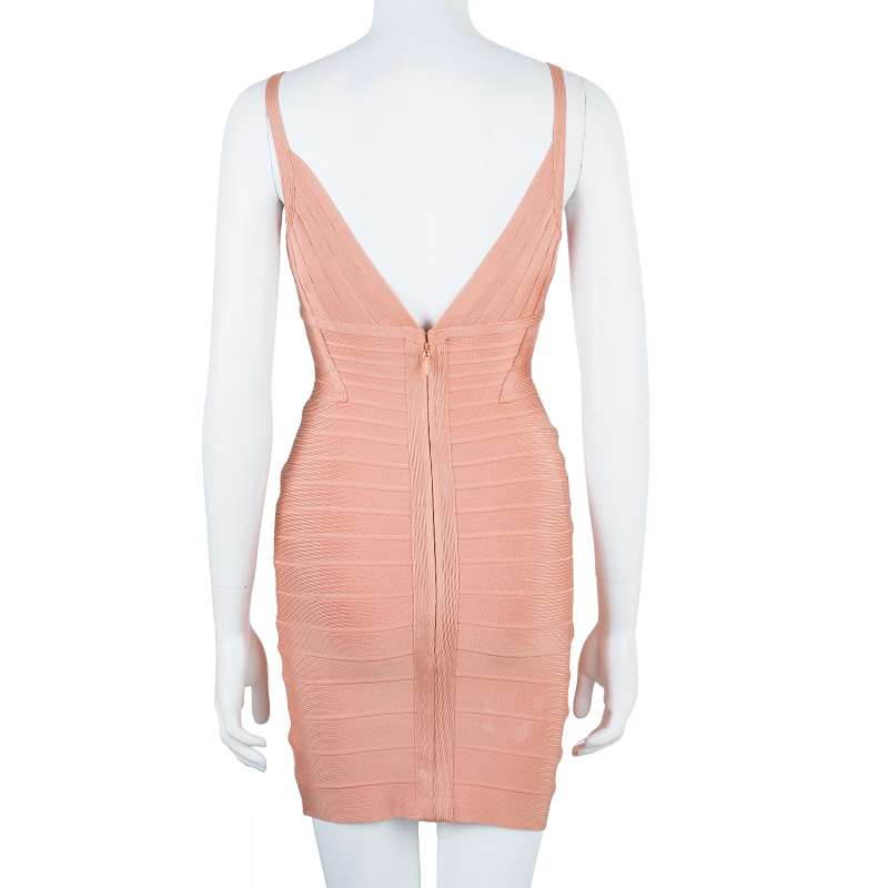 Herve Leger Scarlett Blush Pink Bandage Dress XS