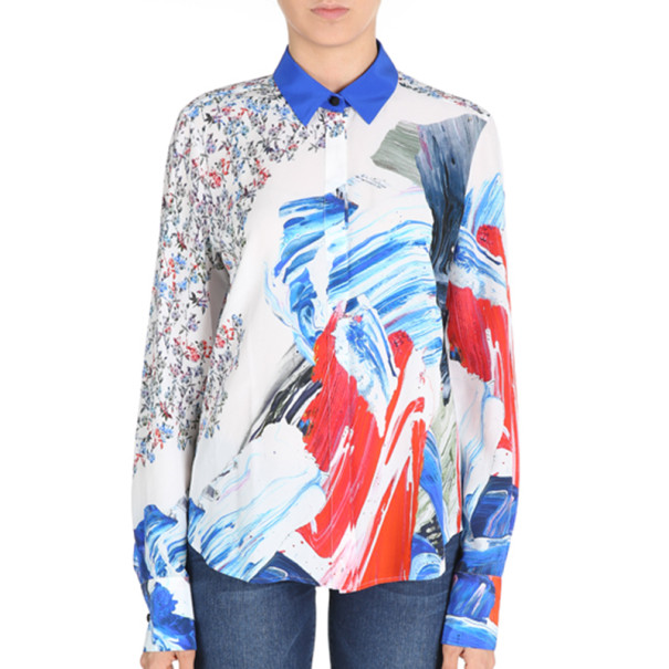 Prabal Gurung Printed Draped-Back Blouse M