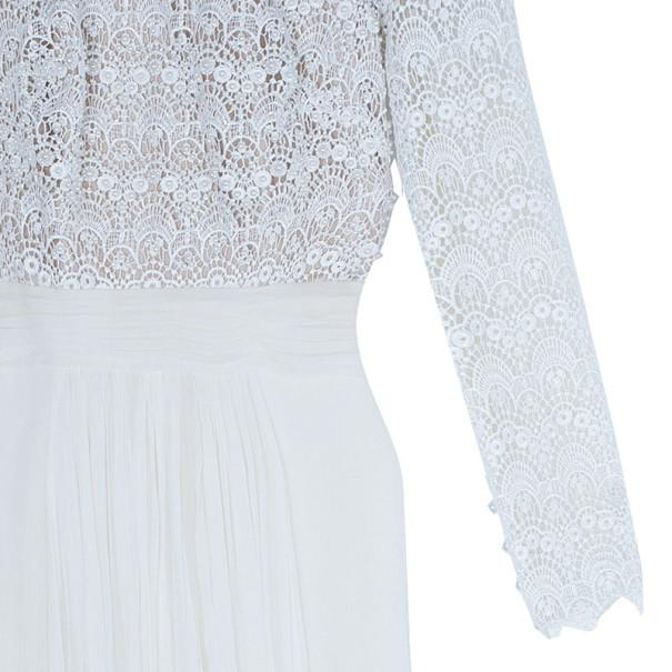 Tadashi Shoji White Pearl Embellished Gathered Gown M