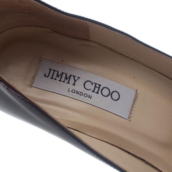 Jimmy Choo Black Patent Allen Pat Wedge Pumps Size 38