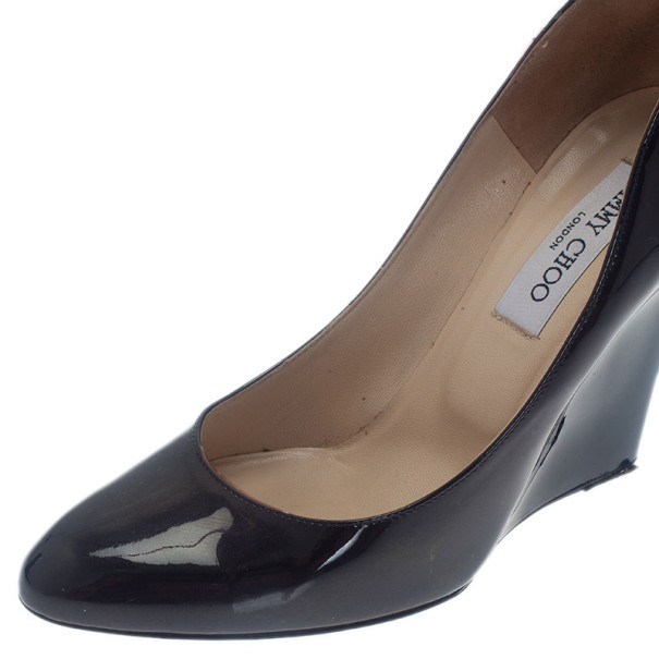 Jimmy Choo Black Patent Allen Pat Wedge Pumps Size 38