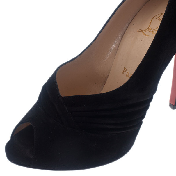 Christian Louboutin Black Pleated Suede Peep Toe Pumps Size 38.5