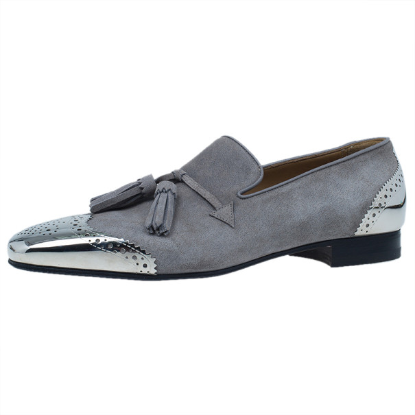 Christian Louboutin Grey Suede James Tassel Loafers Size 43