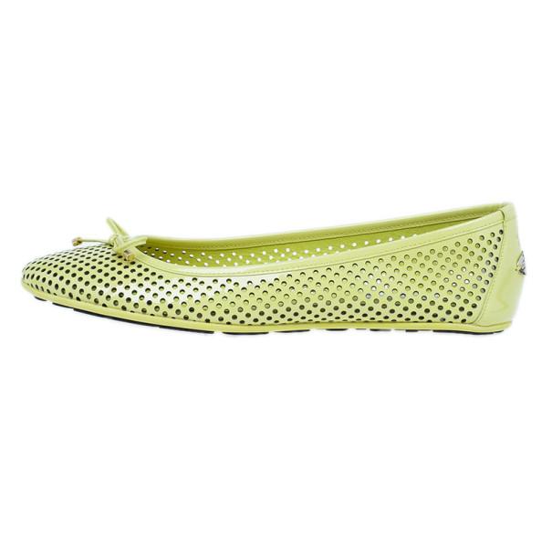 Jimmy Choo Yellow Patent Walsh Ballet Flats Size 40