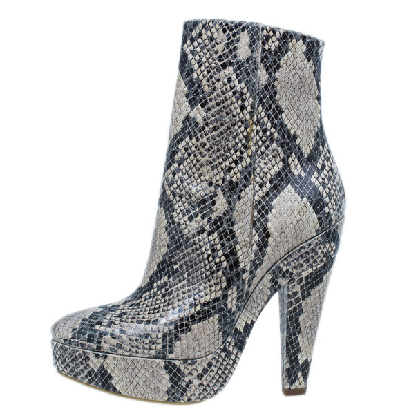 Stella McCartney Snake Effect Faux Leather Ankle Boots Size 37