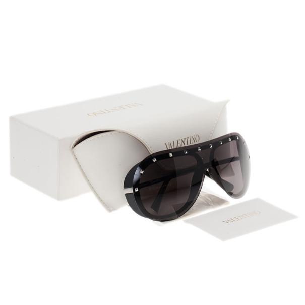 Valentino Black Studded Wrap Sunglasses