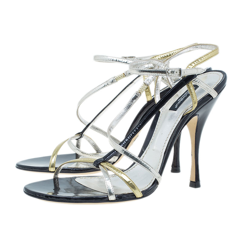 Dolce and Gabbana Gold Leather Strappy Sandals Size 41.5