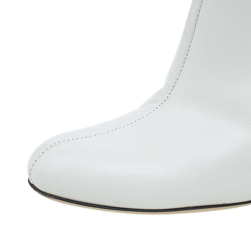 Gucci White Leather Interlocking GG Ankle Boots Size 38.5