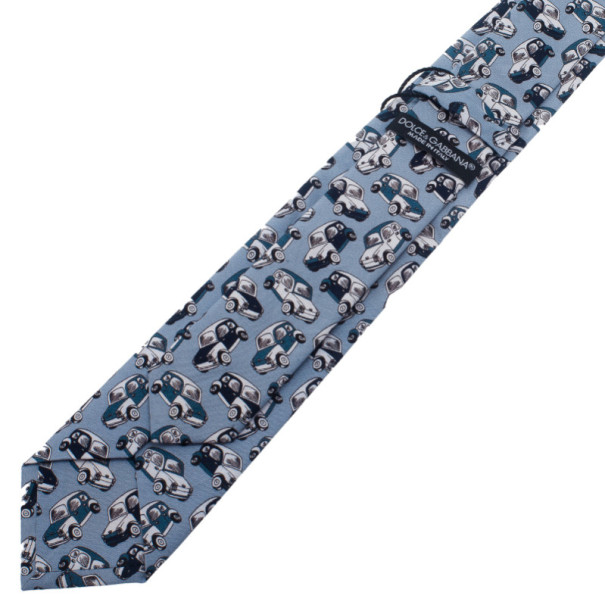 Dolce and Gabbana Light Blue Car Printed Tie