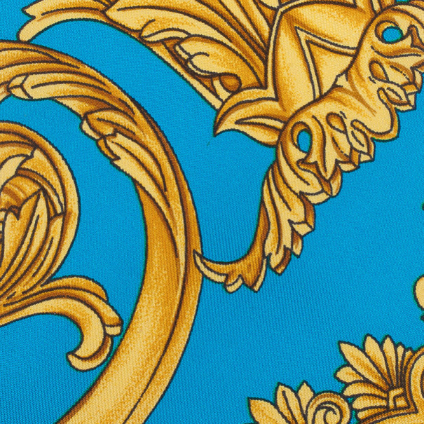 Gianni Versace Turquoise and Gold Silk Tie