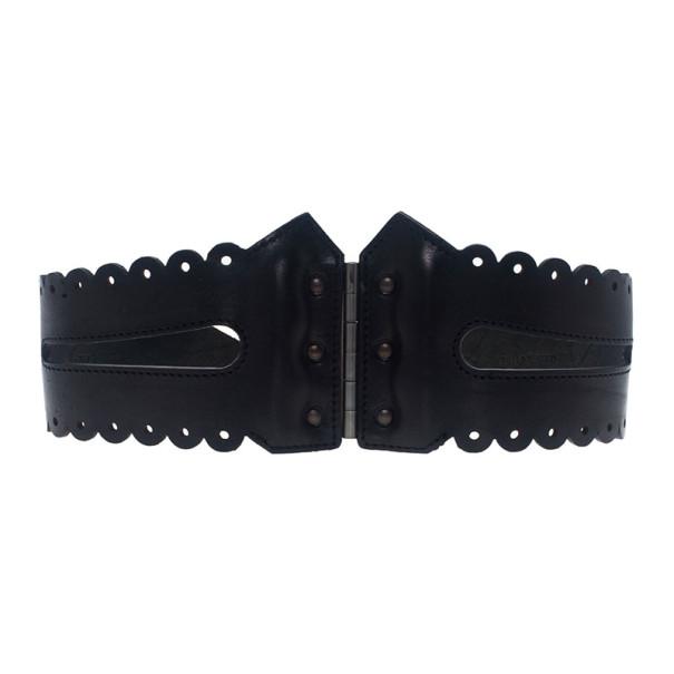 McQ by Alexander McQueen Black Leather Bridle Corset Belt Size S