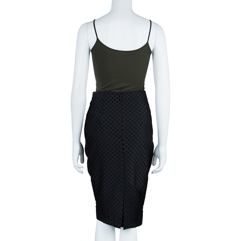 Burberry Black Textured Pencil Skirt S