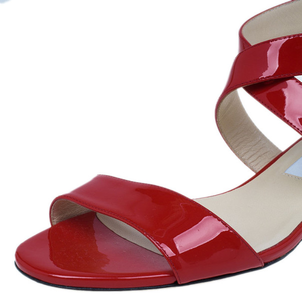 Jimmy Choo Red Patent Chiara Wedge Sandals Size 37.5