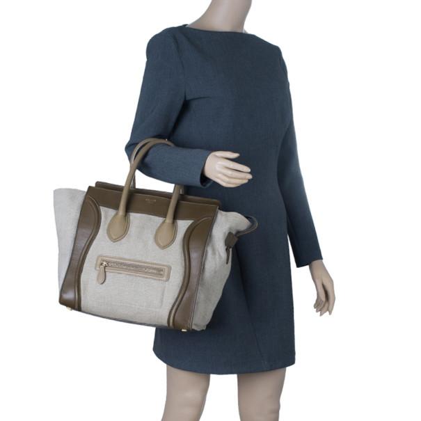 Celine Tricolor Leather Mini Luggage Tote