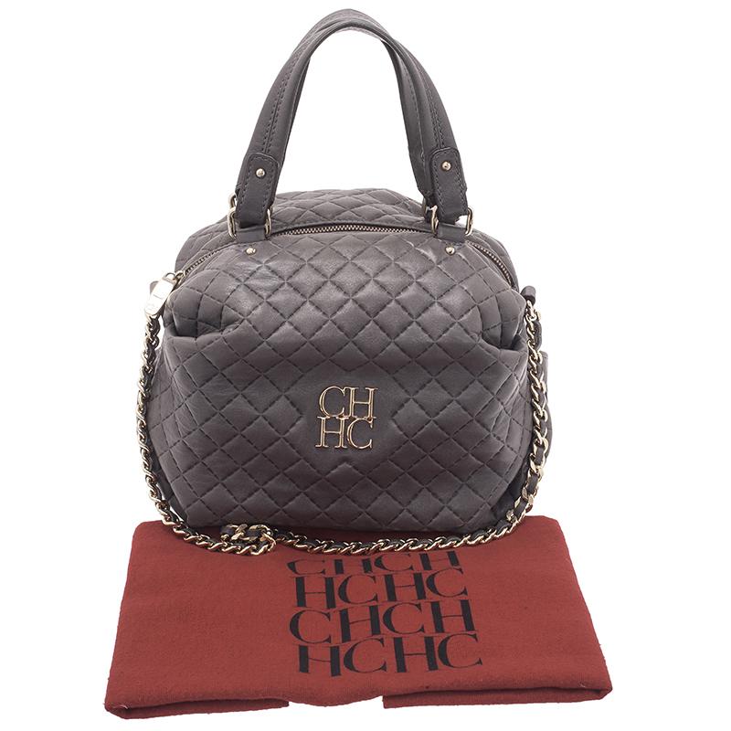 Carolina Herrera Grey Leather Quilted Chain Satchel Bag