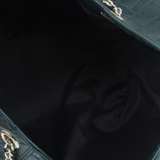 Carolina Herrera Green Monogram Embossed Dahlia Hobo
