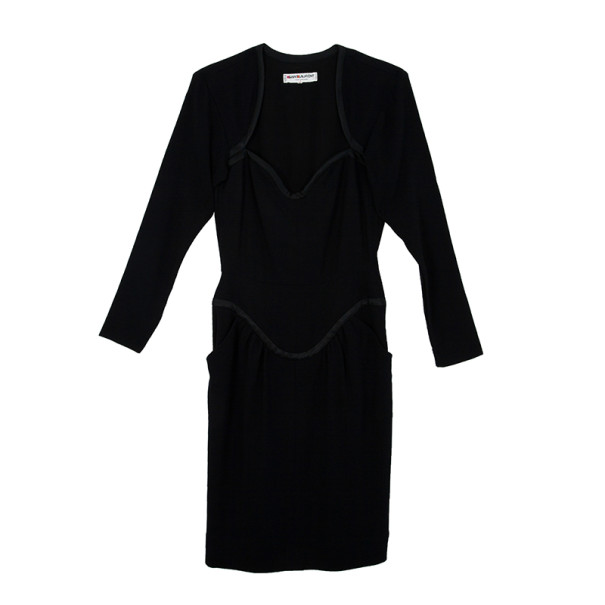 Saint Laurent Paris Black Stretch Long Sleeve Dress M