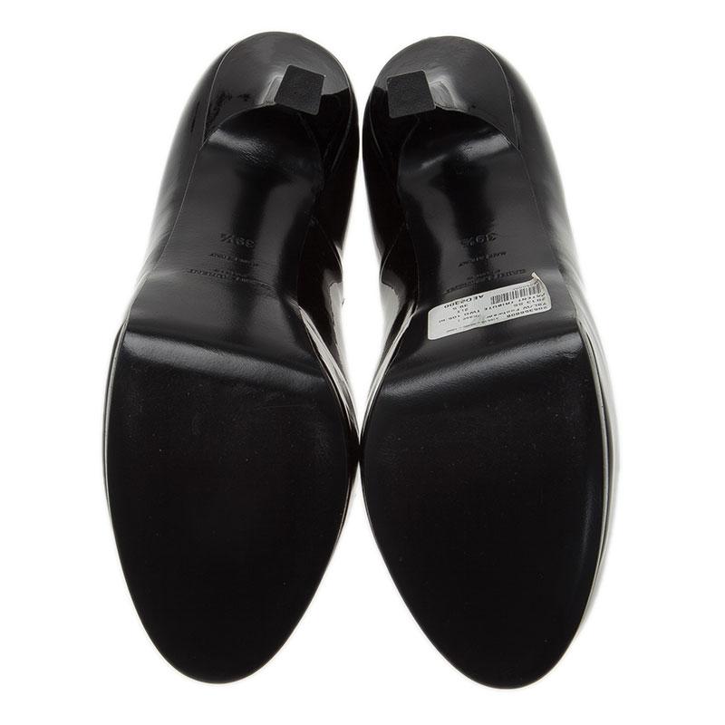 Saint Laurent Paris Black Patent Tribtoo Platform Pumps Size 39.5