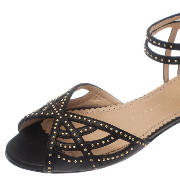 Charlotte Olympia Black Studded Leather Octavia Strappy Sandals Size 35.5
