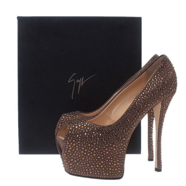 Giuseppe Zanotti Grey Crystal Coated Suede Exaggerated Peep Toe Platform Pumps Size 39.5