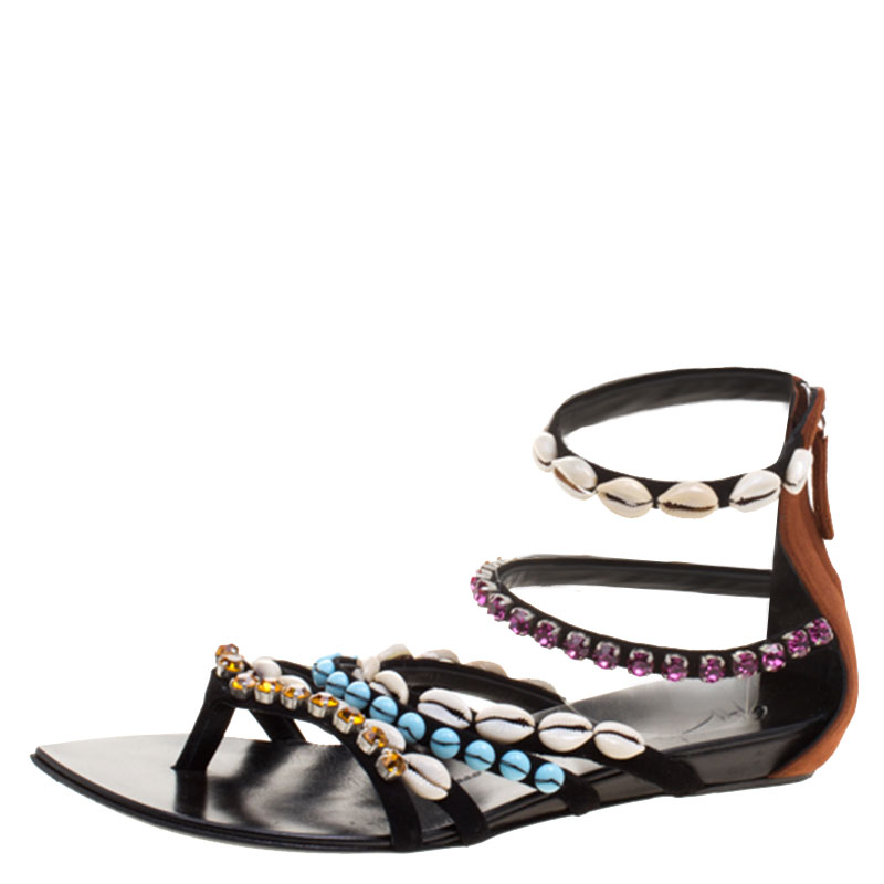 c001b0f88890a ... sale giuseppe zanotti multicolor crystal and shell embellished flat sandals  size 40. nextprev. prevnext
