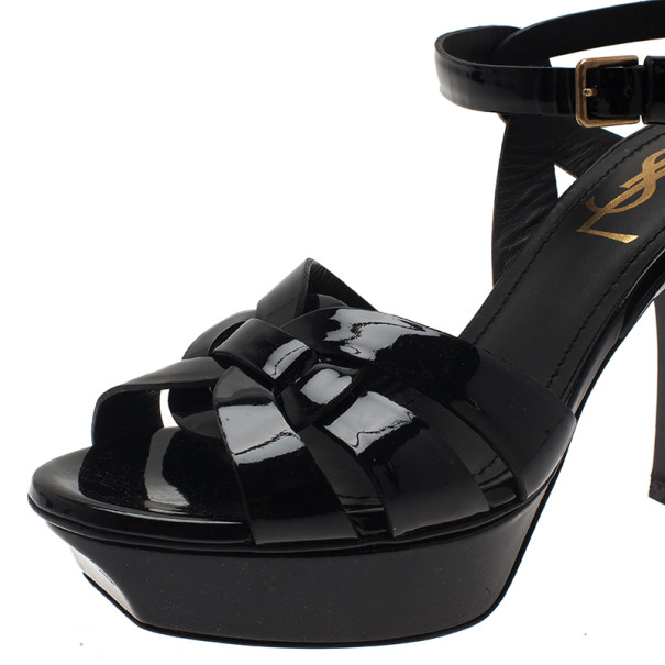 Saint Laurent Paris Black Patent Leather Platform Tribute Sandals Size 36