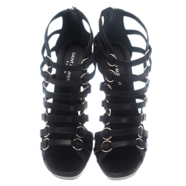 Saint Laurent Paris Black Leather Nina Caged Platform Sandals Size 40