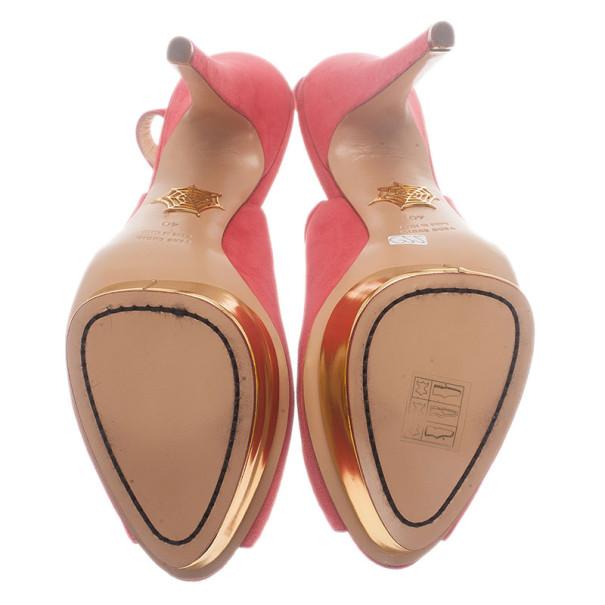 Charlotte Olympia Pink Suede Bon Bon Platform Slingback Sandals Size 40