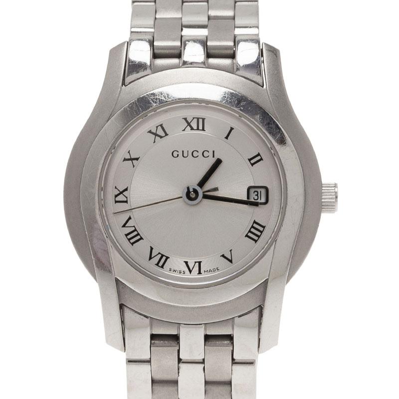 Gucci Silver Stainless Steel 5500L Women's Wristwatch 28MM