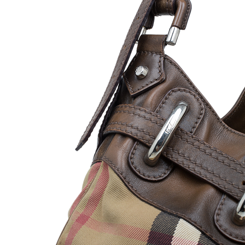 Burberry Brown Fabric /Leather Briddle House Check Beaton Hobo Bag