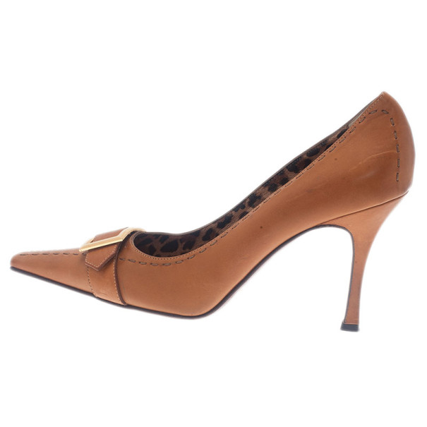 Dolce and Gabbana Beige Leather Pointed Toe Buckle Pumps Size 39.5