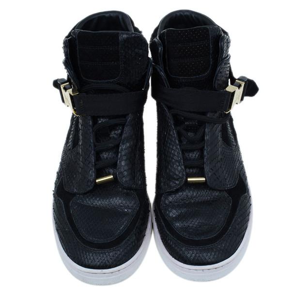 Louis Vuitton Black Python Slipstream Sneaker Boots Size 38