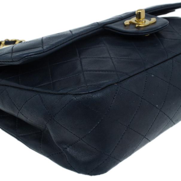 Chanel Black Lambskin Medium Double Flap Shoulder Bag