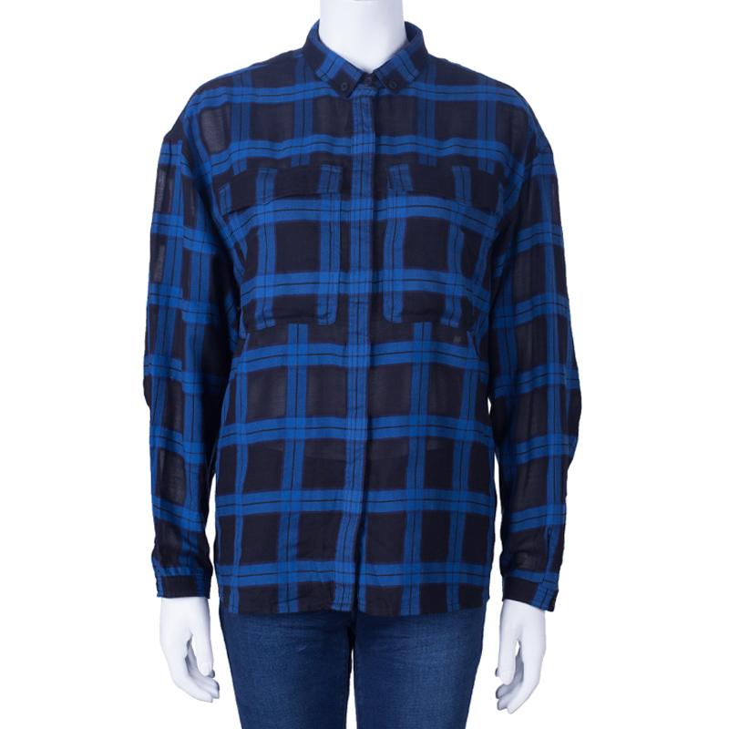 Burberry Blue/Black Check Cotton Shirt L