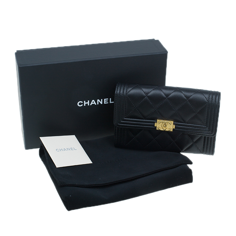 Chanel Black Quilted Lambskin Wallet