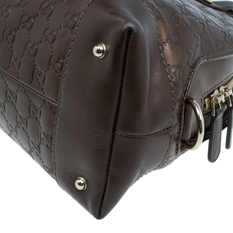 Gucci Metallic Brown Leather Medium Guccissima Heart Bit Top Handle Dome Bag
