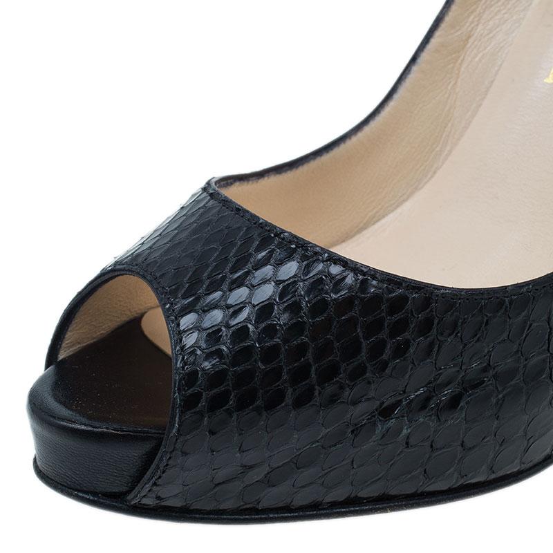 Christian Louboutin Black Watersnake Very Prive Peep Toe Pumps Size 39.5