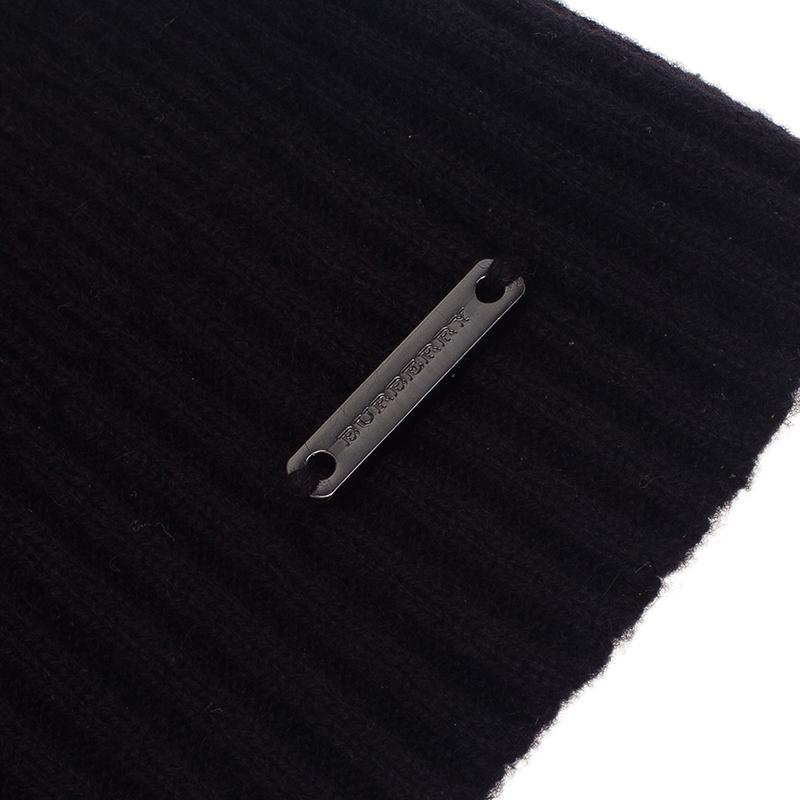 Burberry Black Cashmere Rib Knit Beanie