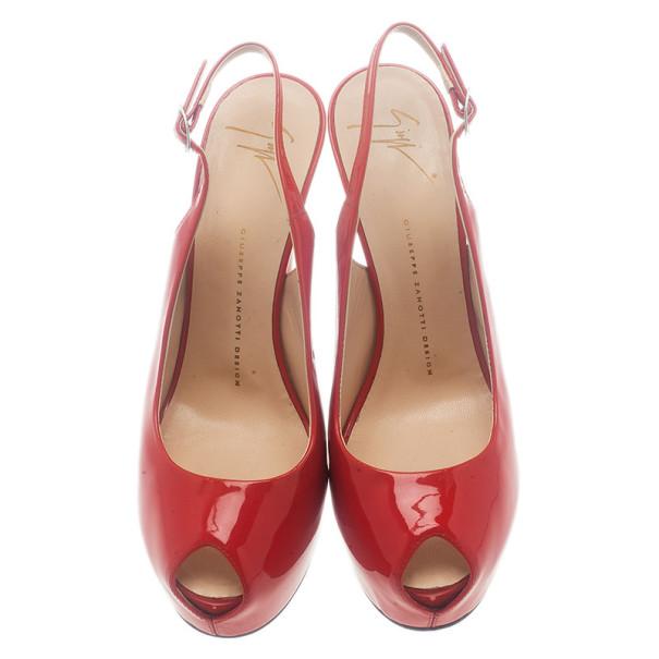 Giuseppe Zanotti Red Patent Leather 'Monro 105′ Platform Peep Toe Slingback Sandals Size 40