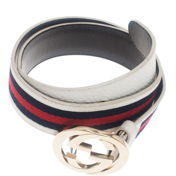 Gucci White Leather Web Detail Interlocking G Buckle Belt 80CM