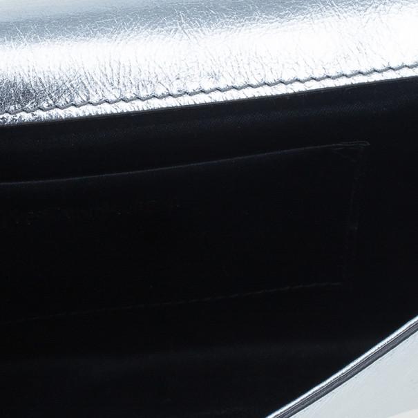 Saint Laurent Paris Silver Patent Leather 'Belle De Jour' Flap Clutch