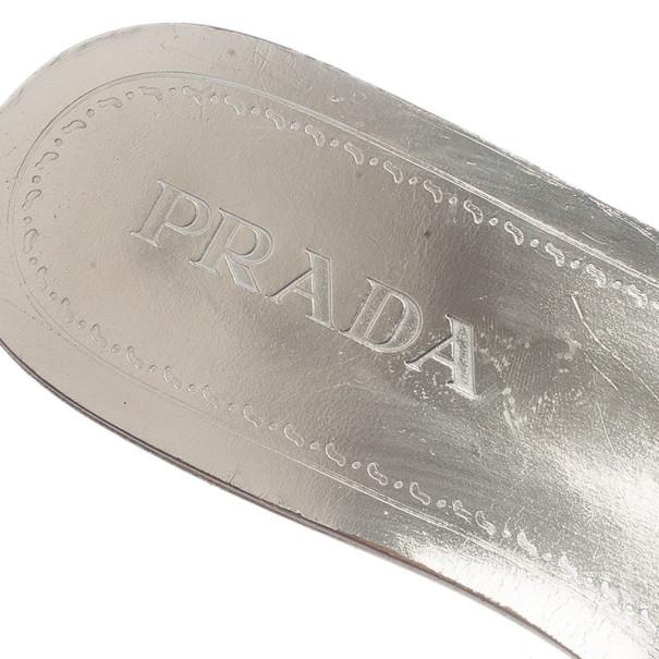 Prada Beige Suede Studded Flat Slides Size 37
