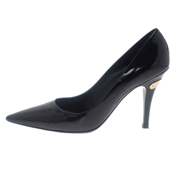 Louis Vuitton Black Patent Pointed Toe Pumps Size 36.5