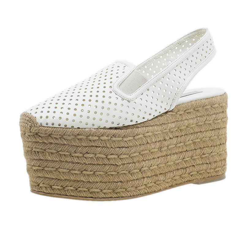Stella McCartney White Faux Leather Wedge Espadrilles Size 38